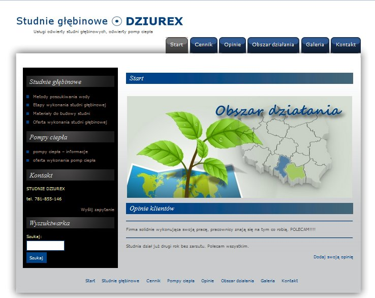 strona internetowa studnie dziurex